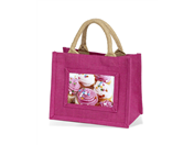 101x152mm 4x6inch Mini Jute Gift Bag AJS46 pink