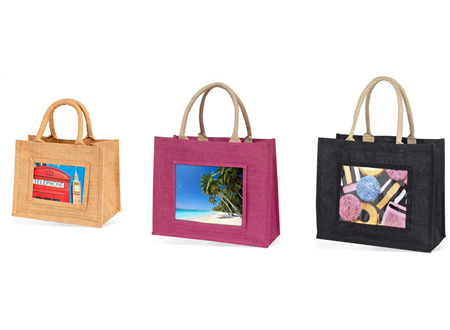 Mini, medium and large jute bags all available in all 3colours
