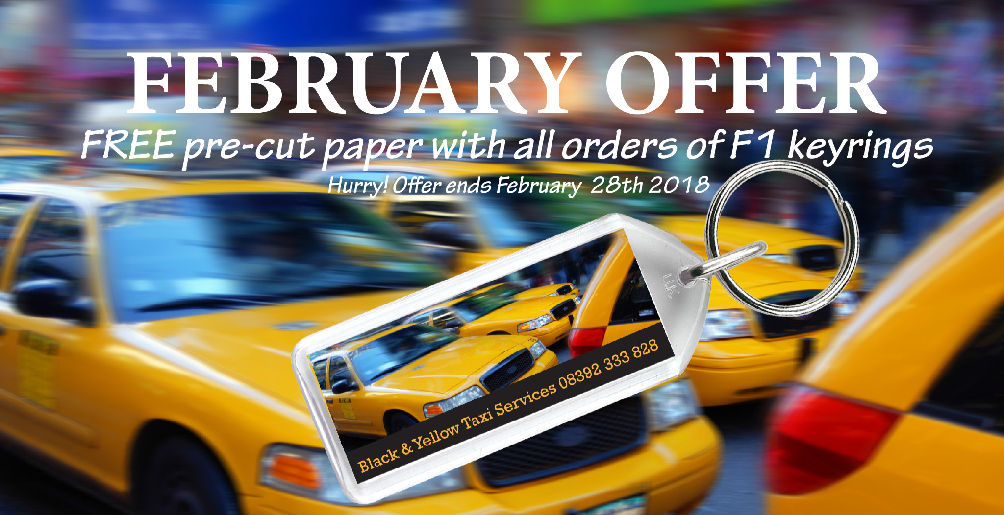 February Offer! Free precut paper when you order F1 keyrings