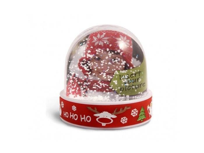 Festive photo insert snow dome for fund raising, promotions and profit